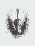 有花卉样式的小提琴 免版税图库摄影