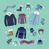 套温暖的冬天衣裳设计 库存照片