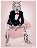 Портрет битника волка с стеклами Стоковое Изображение RF