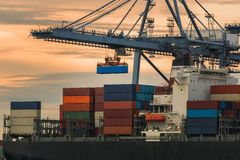 输入其中一个最繁忙的口岸的货船在世界上, 库存图片