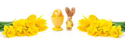 黄水仙,复活节兔子,复活节彩蛋,横幅 库存照片