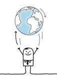 投掷地球的动画片商人 免版税库存图片