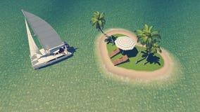 在心形的热带海岛附近的游艇 免版税库存照片
