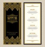 Шаблон дизайна меню ресторана или кафа с винтажной ретро рамкой стиля Арт Деко Стоковые Изображения