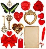情人节剪贴薄 纸笔,红色心脏,金黄框架 免版税图库摄影