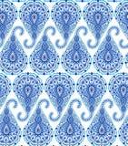 复杂蓝色佩兹利样式 免版税库存照片