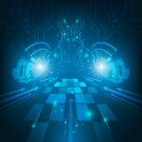 抽象未来派技术电路板深蓝背景 库存图片
