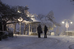 降雪在伊斯坦布尔 库存图片