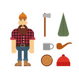 Χαρακτήρας κινουμένων σχεδίων υλοτόμων με τα εικονίδια υλοτόμων Στοκ εικόνα με δικαίωμα ελεύθερης χρήσης