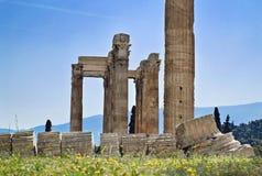 奥林山宙斯雅典希腊寺庙  免版税库存图片