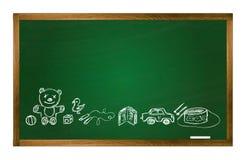 传染媒介学校桌和玩具图片 库存照片