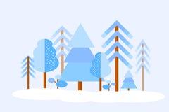 传染媒介冬天森林 免版税库存图片