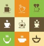 Горячий комплект значка логотипа кофейной чашки Стоковые Изображения RF