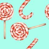 与水彩棒棒糖(棒棒糖)的一个无缝的美好的样式 绘手拉在嫩薄荷的背景 图库摄影