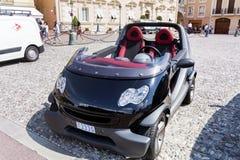微型巧妙的黑汽车在摩纳哥,法国 免版税库存图片