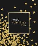 愉快的情人节金背景 金黄心脏、金黄框架和金黄文本 创造的贺卡模板 库存照片