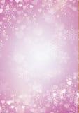 雪花和心脏边界在紫色背景 免版税库存图片