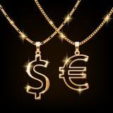 美元和欧洲标志首饰项链在金黄链子 免版税库存照片