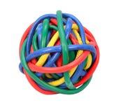 Шарик покрашенных кабелей сети изолированных на белизне Стоковое Фото
