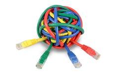 Покрашенные шариком кабели сети на белизне Стоковое фото RF