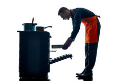 Μαγειρεύοντας σκιαγραφία αρχιμαγείρων ατόμων που απομονώνεται Στοκ Φωτογραφίες