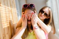 获得两个美丽的白肤金发的十几岁的女孩愉快的乐趣 库存图片