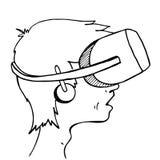 佩带一个虚拟现实耳机的男孩 免版税库存照片