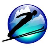 速降滑雪图标的山 免版税库存图片