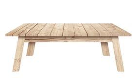 布朗木桌是被隔绝的白色背景 免版税库存图片