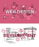 Σύνολο σύγχρονων διανυσματικών εννοιών απεικόνισης του σχεδίου και της ανάπτυξης Ιστού λέξεων Στοκ Εικόνα