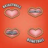 设置篮球的心脏 库存照片
