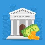 养恤基金概念在平的样式设计的传染媒介例证 财务投资和挽救背景 免版税库存图片