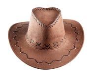 Коричневая кожаная ковбойская шляпа Стоковые Фото