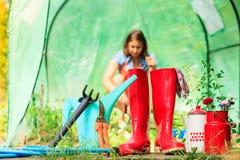 女性农夫和园艺工具在庭院里 免版税库存照片
