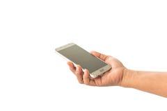 关闭拿着智能手机的妇女的手被隔绝在白色 免版税图库摄影