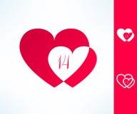 套传染媒介华伦泰结合标志与里面两心脏和十四个日期 爱和浪漫史设计元素 免版税图库摄影