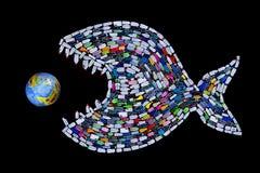 垃圾毁坏的世界海洋和地球-概念 库存照片