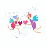 华伦泰的剪影手凹道乱画拿着心脏的天使夫妇 免版税库存图片
