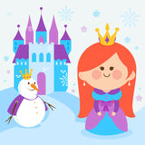一个多雪的风景的逗人喜爱的公主与城堡和雪人 库存图片