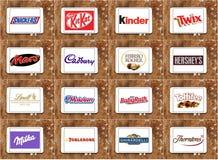 顶面著名巧克力品牌和商标 免版税库存照片