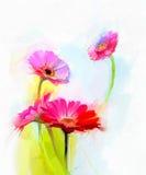 春天花抽象油画  黄色和红色大丁草花静物画  免版税库存照片