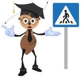 Учитель муравья объясняет правила дороги Пешеходный переход знака Как пересечь улицу Стоковая Фотография RF
