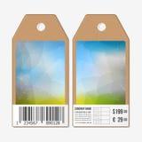 传染媒介标记在双方,纸板与条形码的销售标签设计 多角形设计,几何三角背景 免版税库存图片