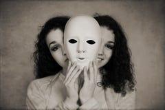 Двуличная концепция маниакально-депрессивного психоза женщины Стоковое Изображение RF