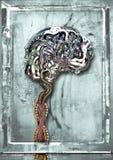 εγκέφαλος που συνδέεται με καλώδιο Στοκ φωτογραφία με δικαίωμα ελεύθερης χρήσης