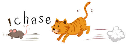 Кот имбиря гоня мышь Стоковые Фотографии RF