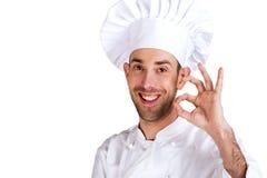 在专业白色的背景主厨查出的人 查出在空白背景 免版税库存照片