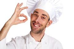 在专业白色的背景主厨查出的人 查出在空白背景 库存图片