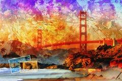 旧金山桥梁,数字式艺术摘要 库存照片