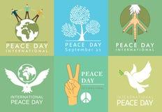国际和平日标志 与和平传染媒介鸠的模板  库存图片